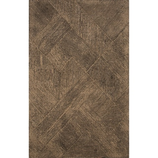 Hand-tufted Solid Pattern Brown/ Brown Area Rug (2' x 3')