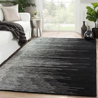 Sarafina Handmade Stripe Black/ Cream Area Rug (2' X 3')