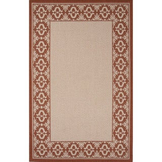 Indoor/ Outdoor Border Pattern Ivory/ Red Area Rug (7'11 x 10')
