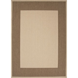 Indoor/ Outdoor Border Pattern Brown/ Brown Area Rug (7'11 x 10')