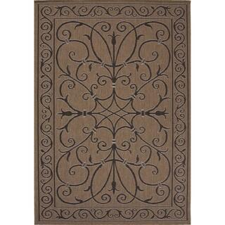 Indoor/ Outdoor Oriental Pattern Brown/ Black Rug (7'11 x 10')
