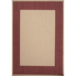 Indoor/ Outdoor Border Pattern Brown/ Red Area Rug (7'11 x 10')