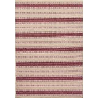 Indoor/ Outdoor Stripe Pattern Brown/ Red Area Rug (7'11 x 10')