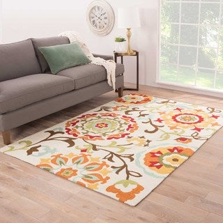 """Handmade Floral White Area Rug (7'6"""" X 9'6"""")"""