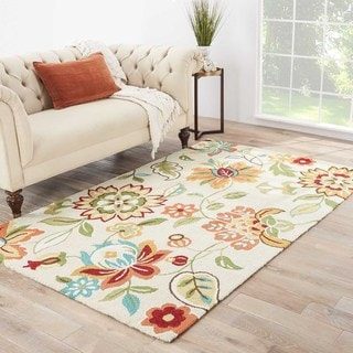 Hand-Tufted Floral Pattern Brown Rug (7'6 x 9'6)