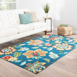 Hand-Tufted Floral Blue Area Rug (7'6 x 9'6)