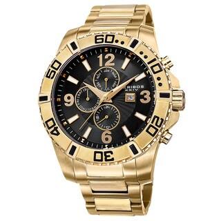 Akribos XXIV Men's Quartz Multifunction Dual-Time Stainless Steel Gold-Tone Bracelet Watch