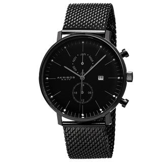 Akribos XXIV Men's Swiss Quartz Multifunction Stainless Steel Mesh Black Strap Watch