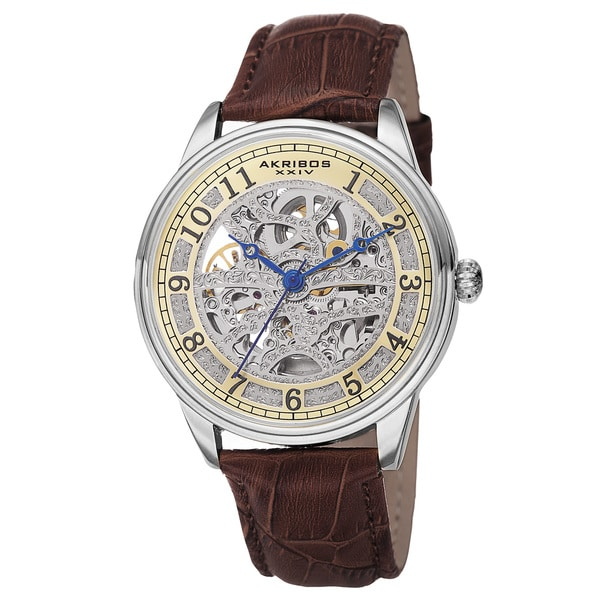 Akribos XXIV Men's Automatic Skeletal Dial Arabic Numeral Markers Leather Brown Strap Watch. Opens flyout.