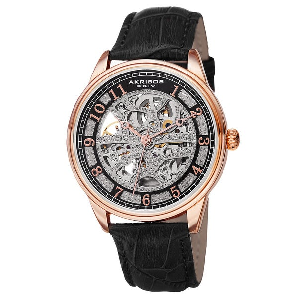 Akribos XXIV Men's Automatic Skeletal Dial Arabic Numeral Markers Leather Rose-Tone Strap Watch. Opens flyout.