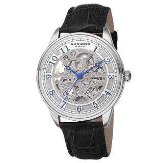 Akribos XXIV Men's Automatic Skeletal Dial Arabic Numeral Markers Leather Silver-Tone Strap Watch