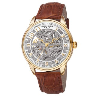 Akribos XXIV Men S Automatic Skeletal Dial Arabic Numeral Markers Leather Gold Tone Strap Watch