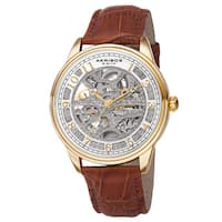 Akribos XXIV Men's Automatic Skeletal Dial Arabic Numeral Markers Leather Gold-Tone Strap Watch