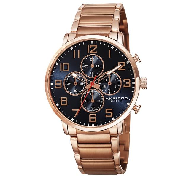 Akribos XXIV Men's Quartz Chronograph Stainless Steel Rose-Tone Bracelet Watch