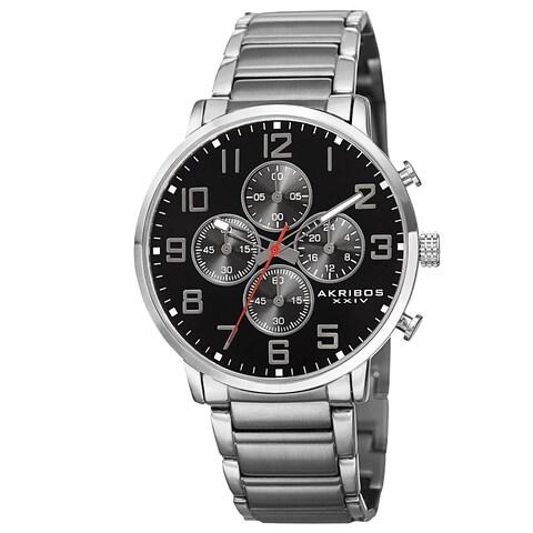 Akribos XXIV Men's Quartz Chronograph Stainless Steel Silver-Tone Bracelet Watch