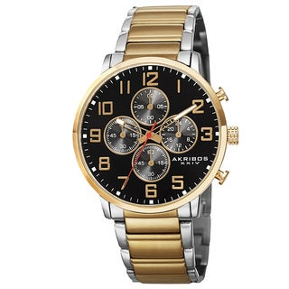 Akribos XXIV Men's Quartz Chronograph Stainless Steel Two-Tone Bracelet Watch