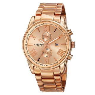 Akribos XXIV Men S Swiss Quartz Dual Time Multifunction Stainless Steel Rose Tone Bracelet Watch
