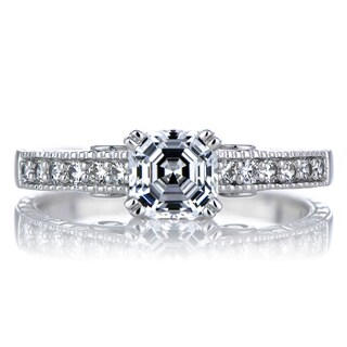 Sterling Silver Asscher Cut CZ Engagement Ring
