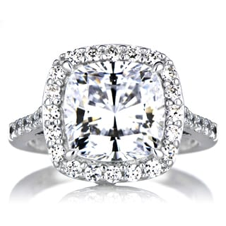 Sterling Silver Cushion-cut Cubic Zirconia Halo Engagement Ring