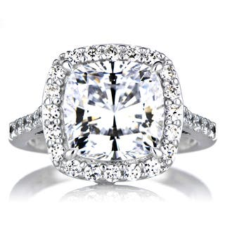 Sterling Silver Cushion-cut Cubic Zirconia Halo Engagement Ring|https://ak1.ostkcdn.com/images/products/10029756/P17175164.jpg?impolicy=medium