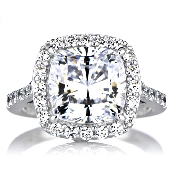 sterling silver cushion cut cubic zirconia halo engagement ring - Cushion Cut Wedding Rings