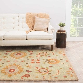 Hand-tufted Floral Pattern Blue/ Brown Rug (2' x 3')