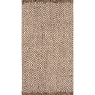 Naturals Geometric Brown/ Ivory Area Rug (9' x 12')