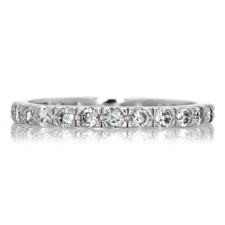 Sterling Silver Cubic Zirconia Eternity Wedding Band
