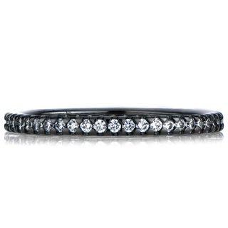 Black Rhodium Sterling Silver Cubic Zirconia Eternity Ring