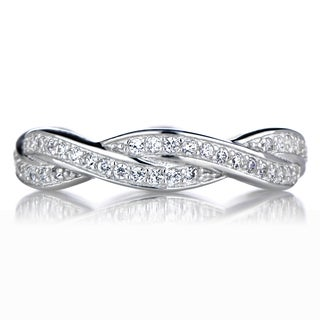 Sterling Silver Twisted CZ Wedding Band