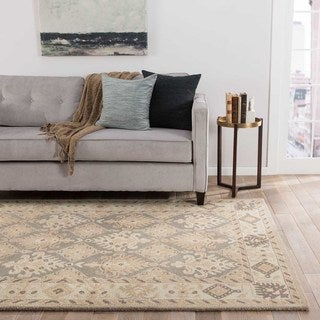 Iguaza Handmade Medallion Tan/ Gray Area Rug (8' X 11')