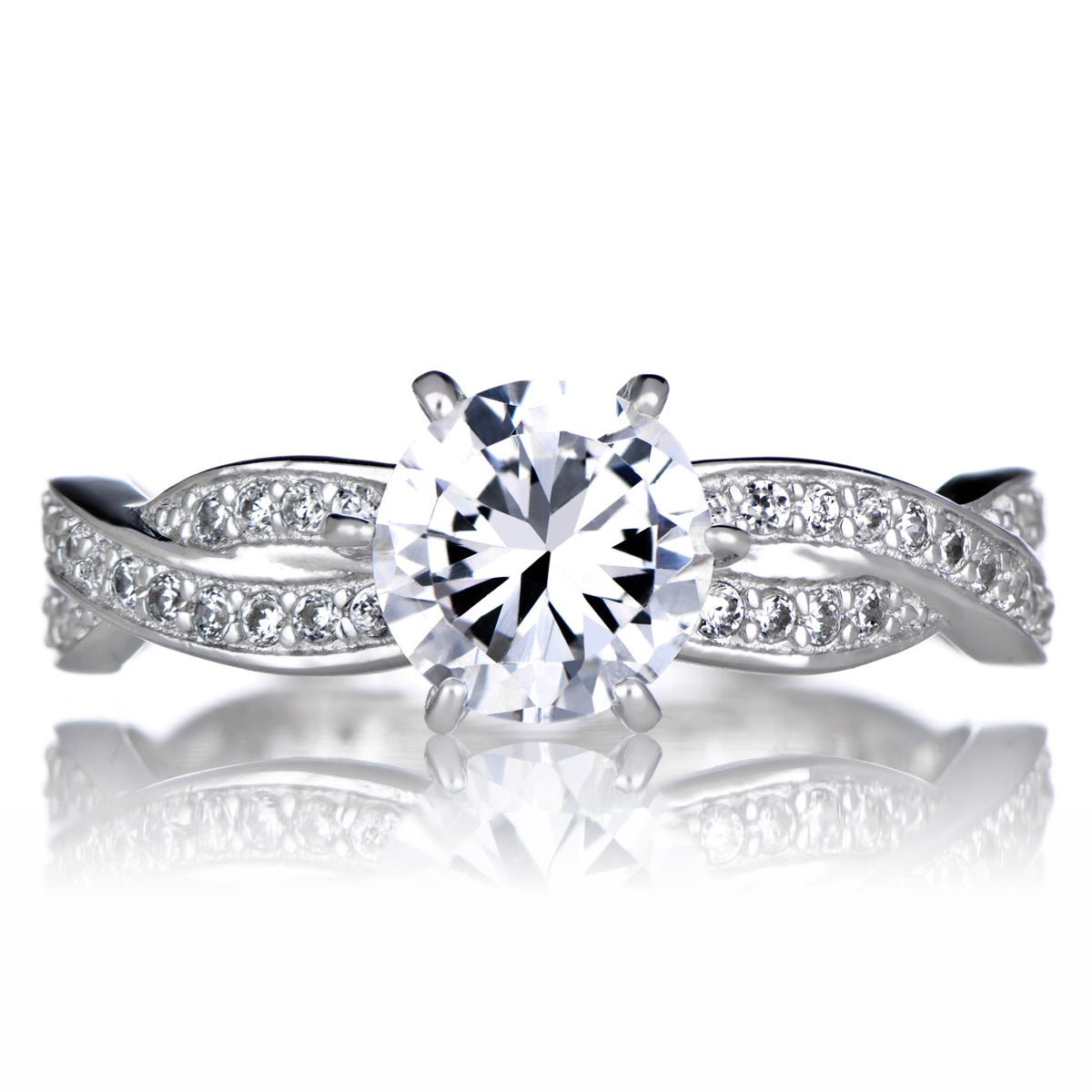 Sterling Silver Twisted Cubic Zirconia Engagement Ring (1...