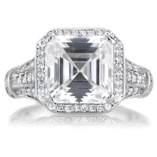Sterling Silver Cubic Zirconia Estate Style Asscher Cut Engagement Ring