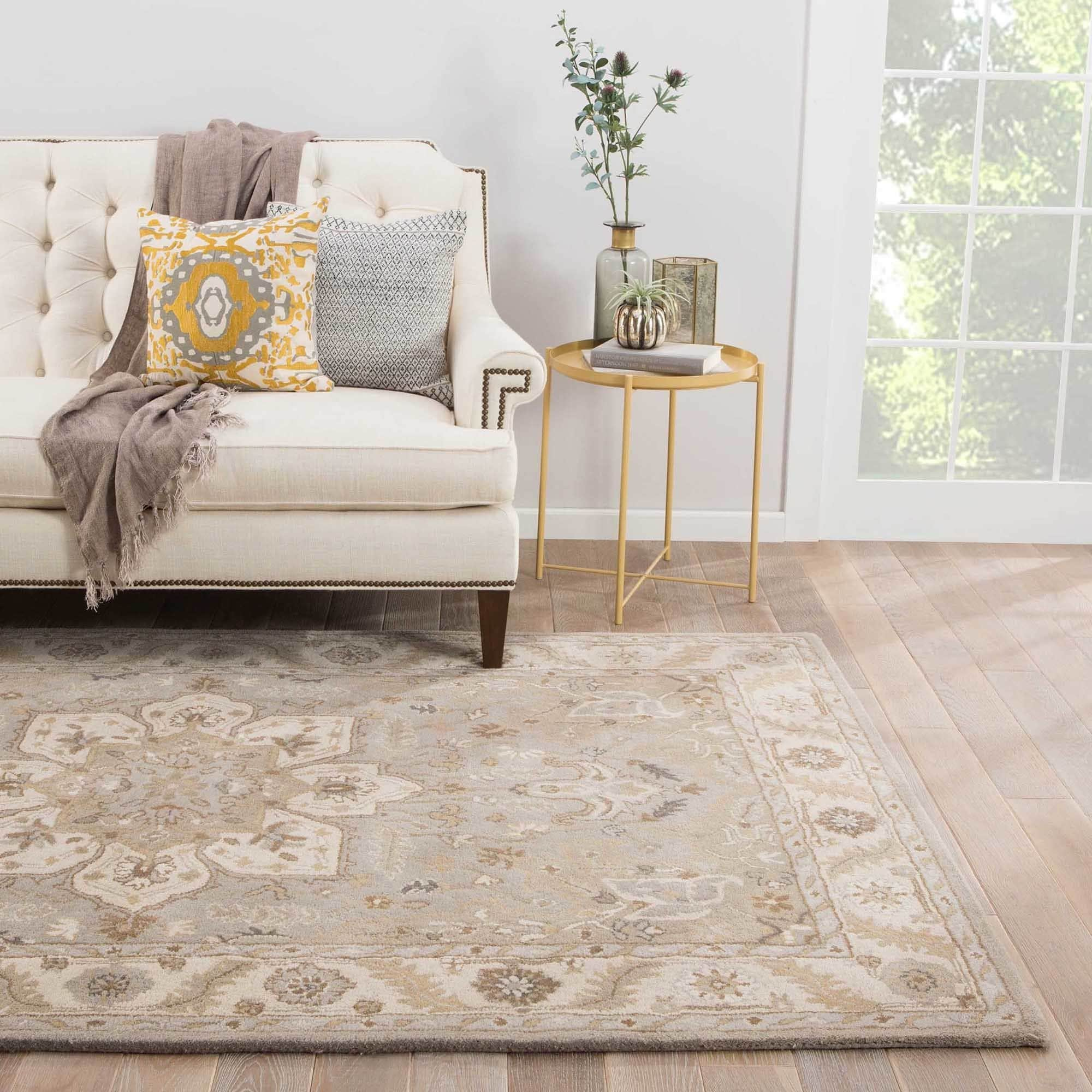 Sage Handmade Medallion Gray Tan Area Rug 9 X27 6 X