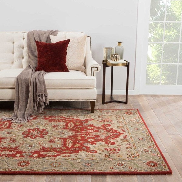 Maison Rouge Bolton Handmade Medallion Red/Grey Area Rug - 9' x 12'