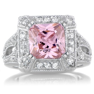 Sterling Silver Pink and White Cubic Zirconia Cocktail Ring