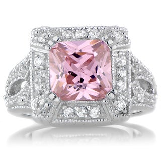 Sterling Silver Pink and White Cubic Zirconia Cocktail Ring (2 options available)