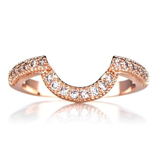 Rose Goldtone Sterling Silver Cubic Zirconia Wedding Band