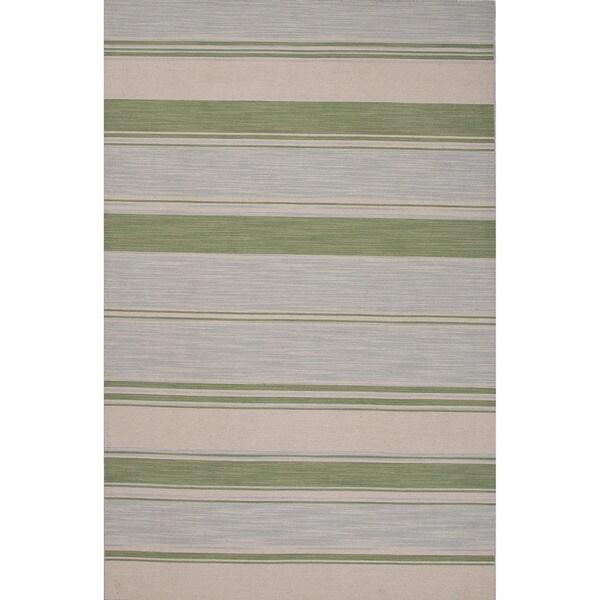 Flatweave Stripe Pattern Blue/ Green Area Rug (8' X 10