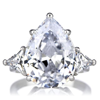 Sterling Silver Cubic Zirconia Pear Cut 3 Stone Ring