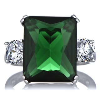 Sterling Silver Green Cubic Zirconia Cocktail Ring