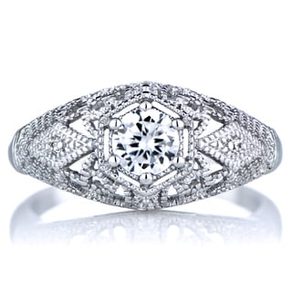 Sterling Silver Cubic Zirconia Vintage Style Wedding Ring