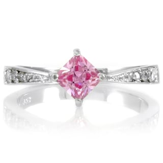Sterling Silver Pink Princess Cut Cubic Zirconia Promise Ring