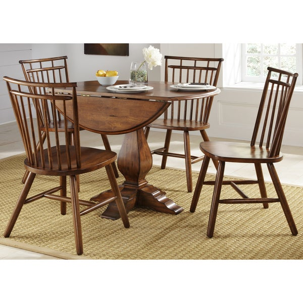 creations tobacco lifestyle 5 piece drop leaf dinette set free