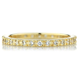 Sterling Silver Goldtone Cubic Zirconia Eternity Band