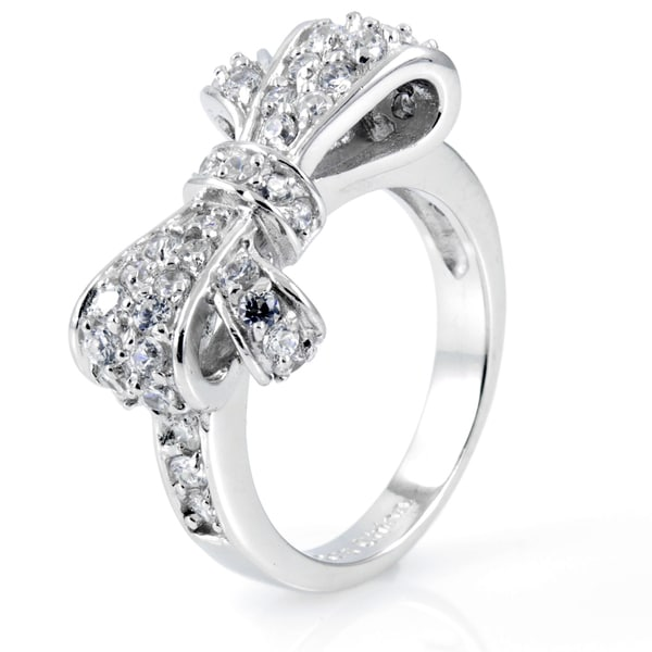 Sterling Silver Bow Pave Cubic Zirconia Ring