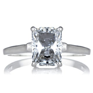 Sterling Silver Radiant Emerald-cut Cubic Zirconia Engagement Ring