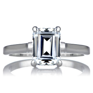 Sterling Silver Emerald-cut Cubic Zirconia Solitiare Engagement Ring
