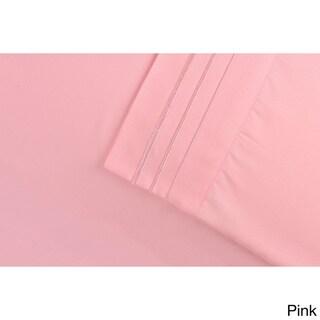 Superior Wrinkle Resistant Embroidered Triple Line Deep Pocket Sheet Set