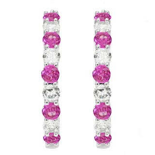 Divina Rodium-plated Brass Pink and White Sapphire Hoop Earrings